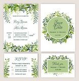 Greenery Wedding Invitation Suite Printable. Illustrations Stock Images