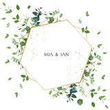 Greenery Wedding Invitation. Watercolor Style. Stock Photos