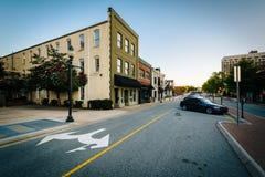 Greenestraat, in Greensboro van de binnenstad, Noord-Carolina royalty-vrije stock afbeelding