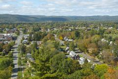 Greenfield aerial view, Massachusetts, USA. Greenfield aerial view in fall from Poet`s Seat Tower on Rocky Mountain Park, Greenfield, Massachusetts, USA royalty free stock photography