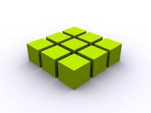 greenfyrkant för kub 3d Fotografering för Bildbyråer