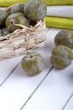 Greengage green plum Stock Photos