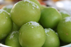 Greengage Plums and Salt Royalty Free Stock Images