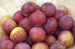 Greengages, plums in a bowl. Greengages, plums in a wooden bowl, Prunus domestica ssp. italica Stock Photo