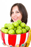 Greengages Presented. In a bowl with a warm smile Royalty Free Stock Image