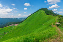 Greengrass at Soni plateau,Nara Prefecture ,Japan. Greengrass against blue sky at Soni plateau,Nara Prefecture,Japan royalty free stock images