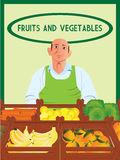 Greengrocer. Vector illustration of a greengrocer portrait Stock Photo