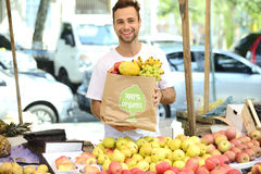 Greengrocer που πωλεί τα οργανικά επικυρωμένα φρούτα. Στοκ Εικόνες