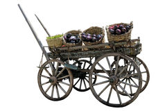 Greengrocer with a coach. White background Royalty Free Stock Images