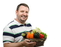 Greengrocer with fresh vegetables for sale Stock Image