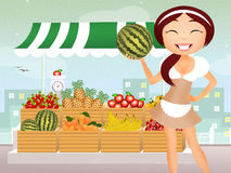 Greengrocer. Illustration of girl in the grocery Stock Photography