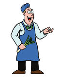 Greengrocer with leek showing something. Greengrocer holding a fresh leek showing something Stock Images