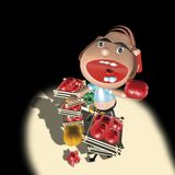 Greengrocer man. 3d rendering illustration, greengrocer man on black background Royalty Free Stock Images
