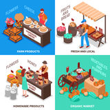 Greengrocer Market Compositions Set. Farmers market design concept with four isometric square trade fair compositions with fresh homemade farm products vector Royalty Free Stock Photography