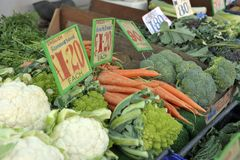 Fresh vegetable market stall. Greengrocer market trader vegetable stall with green brassicas, cauliflowers, carrots, broccoli and purple sprouting broccoli Stock Photography