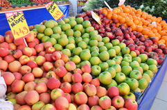 Greengrocer and Sale of red apples, green apples ,yellow apples,pictures.  stock photos