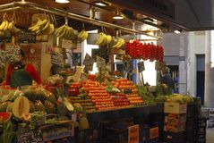Greengrocer shop in market. Barcelona. Spain Royalty Free Stock Photo