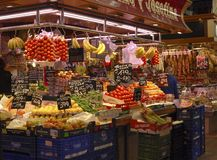 Greengrocer shop in market. Barcelona. Spain Royalty Free Stock Image