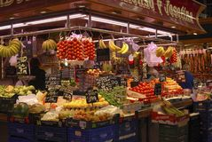 Greengrocer shop in market. Barcelona. Spain Stock Photography