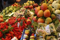 Greengrocer shop in market. Barcelona. Spain Stock Image