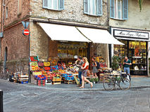 Greengrocer stall in a market zone of Parma, Italy. Stock Image