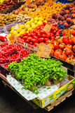 Greengrocer stall in the Mercato Orientale market of Genova. Ita Royalty Free Stock Photography