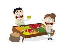 Greengrocer vegetables fruit clipart stock illustration