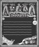 Greengrocer - Vintage Carrots Chalkboard Advertising. Detailed illustration of a Greengrocer - Vintage Carrots Chalkboard Advertising Royalty Free Stock Photos