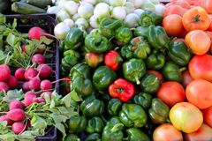 Greengrocers radish tomatoes green red peppers Stock Photography