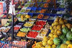 Greengrocers' shop, with an electronic scale, and Royalty Free Stock Photos