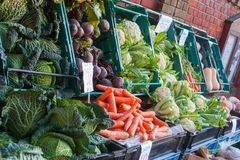 Greengrocers Vegetable Display Royalty Free Stock Photos