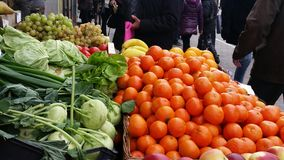 Greengrocery in a City Street. Stand of vegetables and fruits in a city street Royalty Free Stock Images