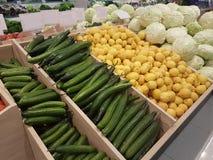 Greengrocery del cavolo dei limoni dei pomodori dei cetrioli Fotografie Stock Libere da Diritti