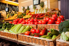 Greengrocery with fresh fruits and vegetables. Organic food. Agricultural market Stock Photo