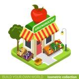 Greengrocery grocery vegan vegetable fruit buildin Stock Image