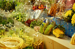 Greengrocery or Vegetables & Fruit Shop Stock Photos
