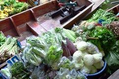 Greengrocery or Vegetables Shop. Greengrocery or Vegetables and Fruit Shop in Klong Lat Mayom Canal Floating Market at Bangkok Thailand. Khlong Lat Mayom stock photos
