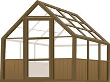 Greenhouse. Illustration of a wood structure type greenhouse Stock Photo