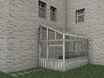 Greenhouse. Wood greenhouse made in 3d Stock Photography