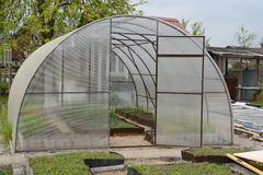 Greenhouse airing from cellular polycarbonate Royalty Free Stock Photos