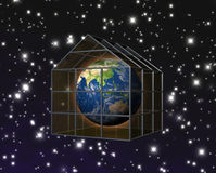 Greenhouse effect. The planet earth in a gasious greenhouse Stock Photos