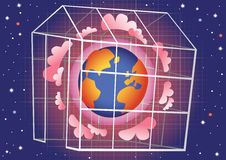 Greenhouse effect. A cartoon illustration of the global warming 'greenhouse effect' on Earth. E.P.S. 10 vector file included with image Stock Photos