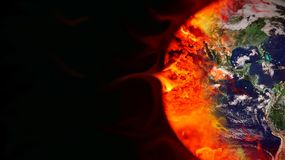 Greenhouse effect. Earth burned by fossil fuels Royalty Free Stock Image