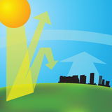 Greenhouse effect. ( illustration). Global warming Stock Photo