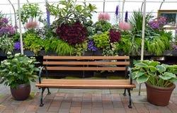 Greenhouse Garden Bench Stock Photo
