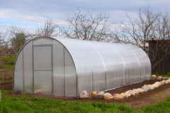 Greenhouse at garden in spring Royalty Free Stock Photo