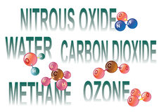 Greenhouse gas molecules Stock Image