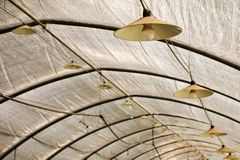 Greenhouse with lighting lamps and light bulbs above the roof truss for industrial growing of strawberry.  Lamp is hanging on the stock image