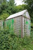 Greenhouse made of old plastic bottles. Greenhouse made of recycled old plastic bottles stock images