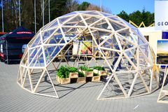 Greenhouse in original construction seen on opening construction season Royalty Free Stock Photography